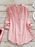 Casual Paneled Stand Collar Linen Long Sleeve Plus Size Blouse