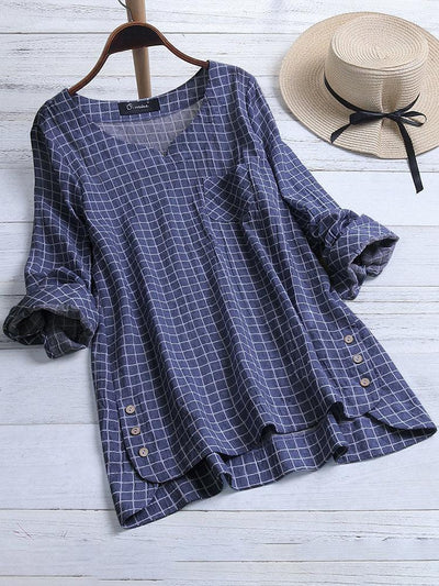 Casual Plaid Irregular Hem Button Long Sleeve Plus Size Blouse
