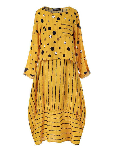 Vintage Print Polka Dots Striped Two-piece Dress