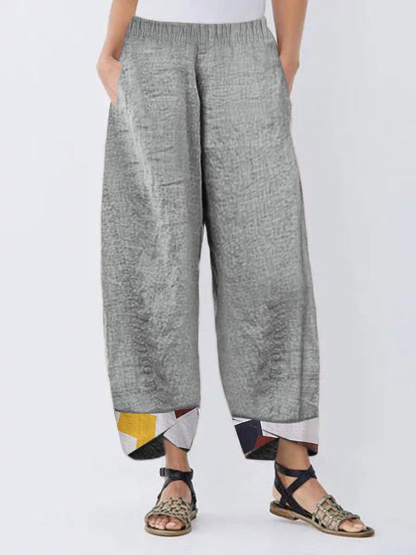 GEOMETRIC PRINT PATCHWORK CASUAL PANTS FOR WOMEN