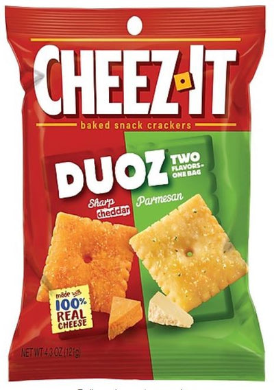 Keebler Cheez-It Duoz Sharp Cheddar and Parmesan, 4.3 oz. bag (case of 6 bags)