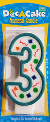 "Dec-A-Cake Candle Number ""3"", (Pack of 6)"