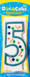 "Dec-A-Cake Candle Number ""5"", (Pack of 6)"