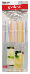 Good Cook Flexible Color Stripe Drinking Straws, 50 ct