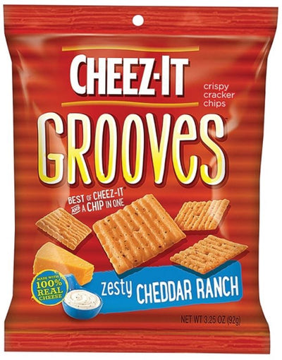 Keebler Cheez-It Grooves Zesty Cheddar Ranch, 3.25 oz. bag (case of 6 bags)