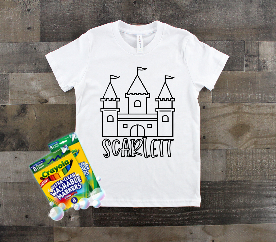 Kids Coloring Tee | Custom Name and Design Options