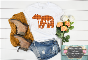 Mama Bear | Orange Gingham