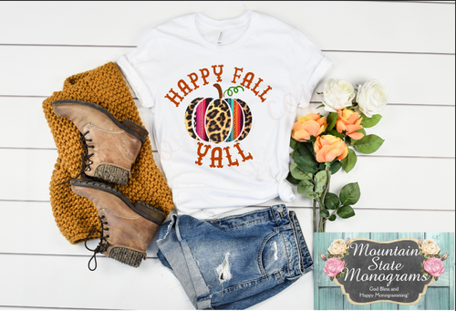 Happy Fall Y'all | Leopard + Serape Pumpkin