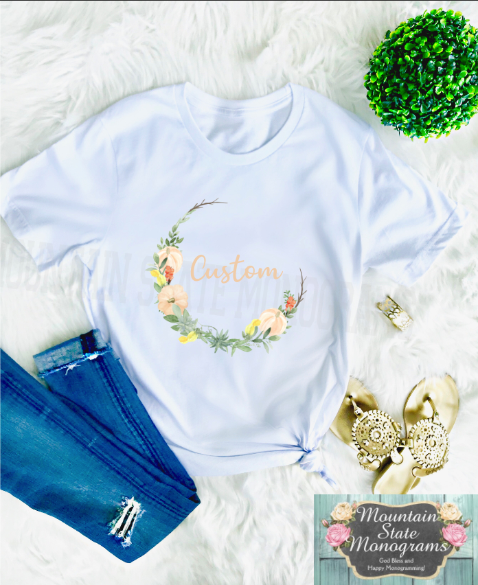 Pumpkins + Succulents | Custom Open Wreath Tee