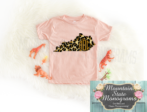 Kentucky Monogram Tee | Peachy Leopard Edition | LITTLE MATCH