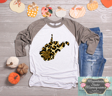 Load image into Gallery viewer, Mountain Monogram Raglan | Leopard