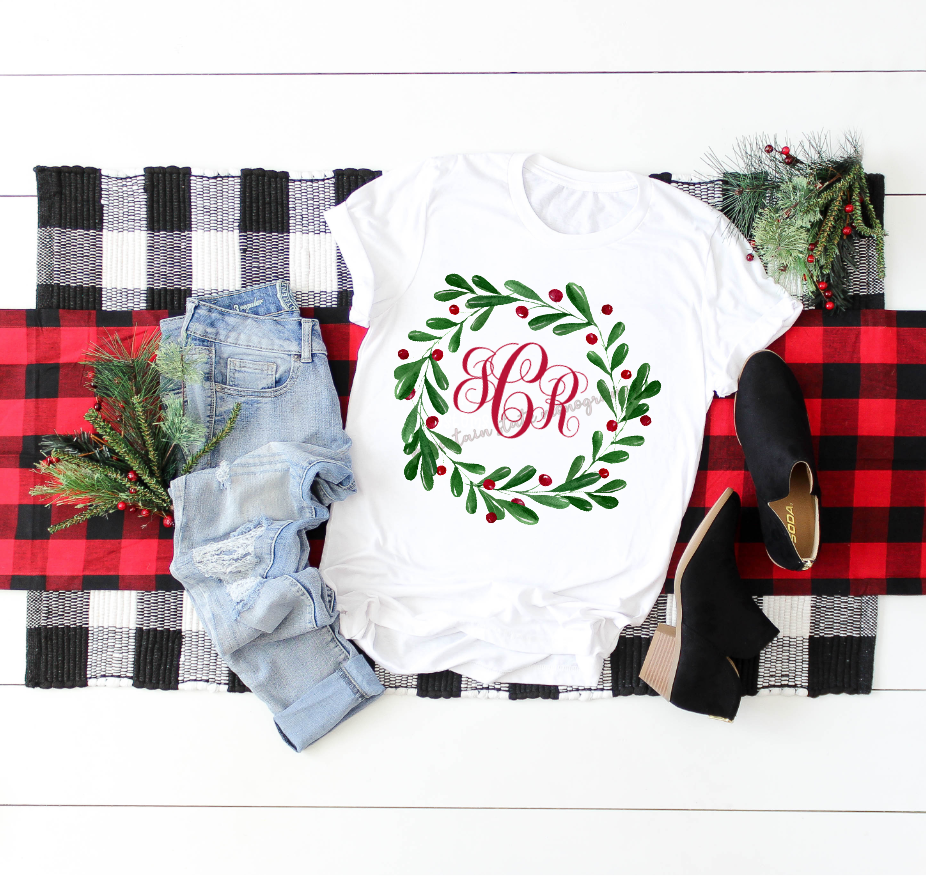 Holly Wreath Monogram Tee