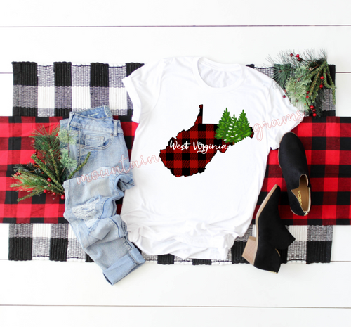 Christmas Back Home Tee | West Virginia | WV | Buffalo Plaid