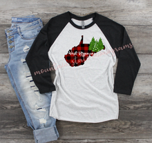 Load image into Gallery viewer, Christmas Back Home Tee | West Virginia | WV | Buffalo Plaid