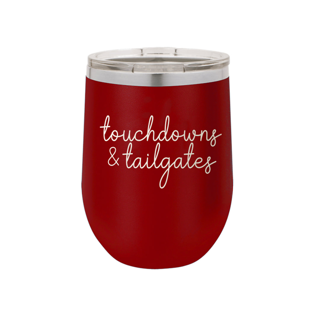 Garnet Touchdowns & Tailgates 12oz Insulated Tumbler