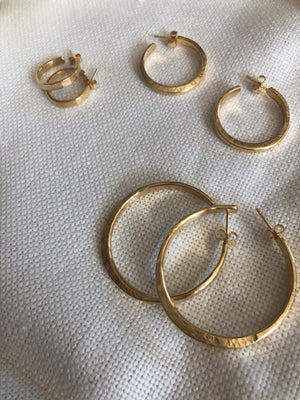 Large Gold Forged Hoops