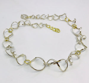 Sterling Silver & 18ct Yellow Gold Twisted Link Necklace