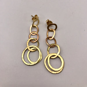 18ct Red & Yellow Gold Organic Linked Earrings