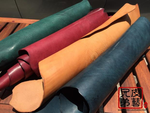 "意大利鱈魚油製摔紋腩條 ""Salmon oil"" vegetable tanned leather belly Italy"