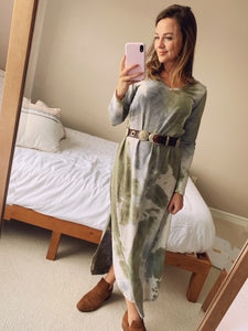 Olive Mix Tie Dye Dress