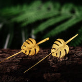 Monstera Leaf - Handmade Drop Earrings