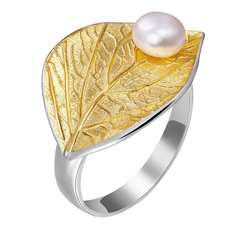 Pearly Leaf - Adjustable Ring