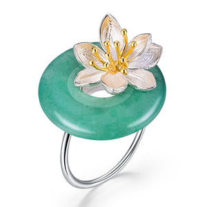 Whispering Lotus - Adjustable Ring - MetalVoque