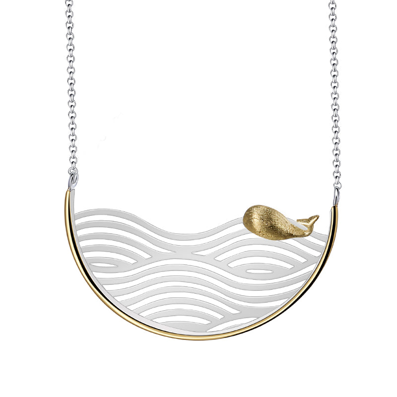 Surfing Whale - Handmade Necklace