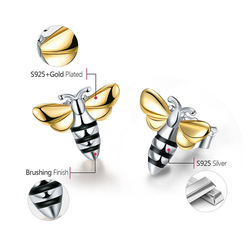 Lovely Honey Bee - Stud Earrings