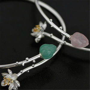 Whispering Lotus - Adjustable Bangle | NEW - MetalVoque