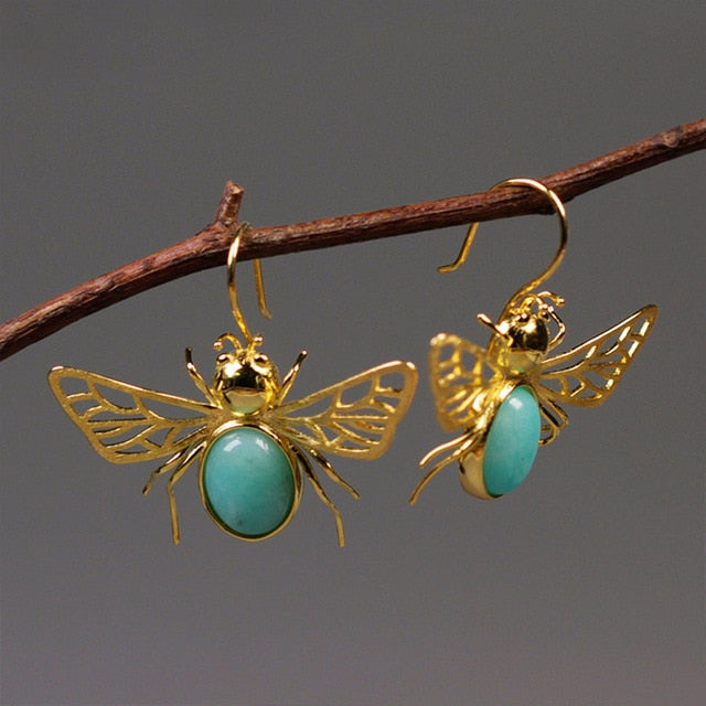 Amazonite Honeybee - Dangle Earrings | NEW - MetalVoque