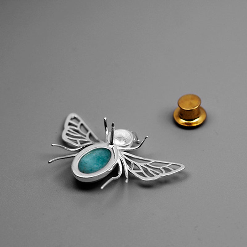Amazonite Honeybee - Handmade Brooch | NEW