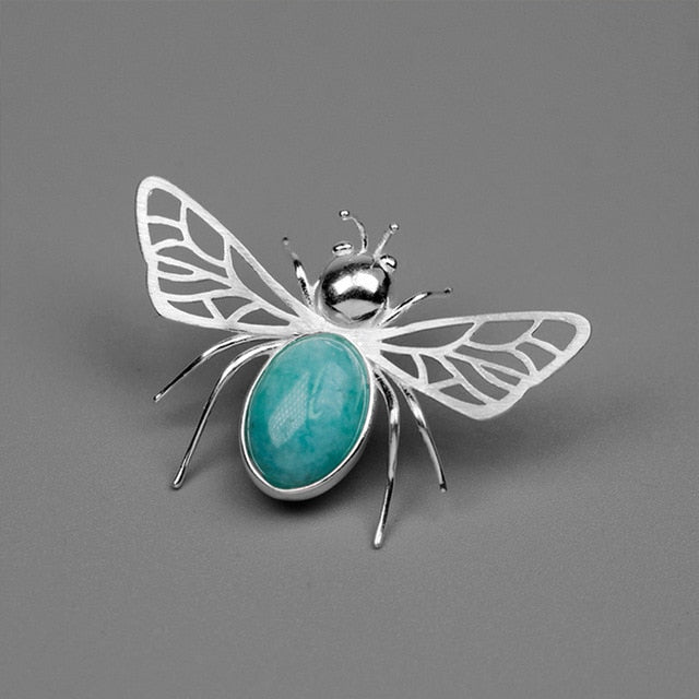 Amazonite Honeybee - Handmade Brooch | NEW - MetalVoque