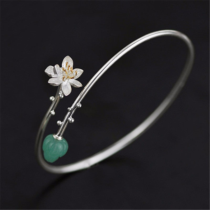 Whispering Lotus - Adjustable Bangle | NEW