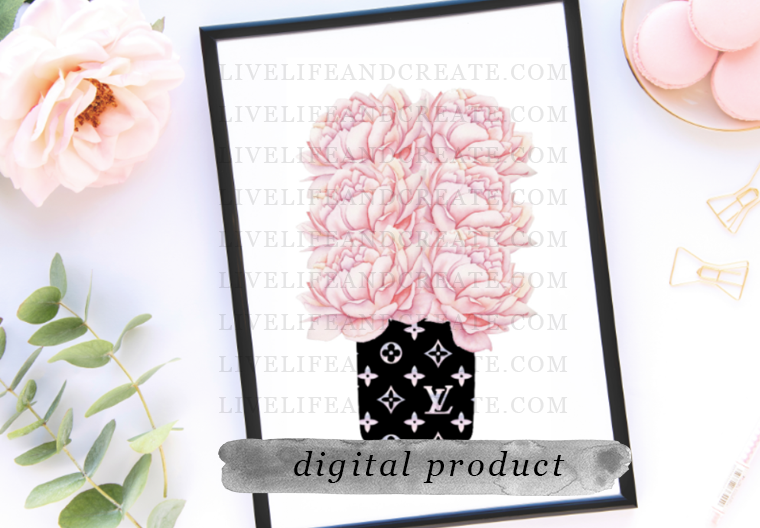 DIGITAL 6 inch Floral Large LV bookmarker