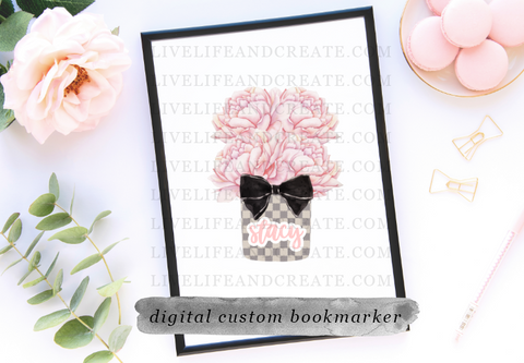 DIGITAL CUSTOM grey check floral 4 inch marker