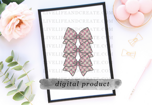 DIGITAL Bowmarker Grey Checkered Pink heart overlay 4.5 inches