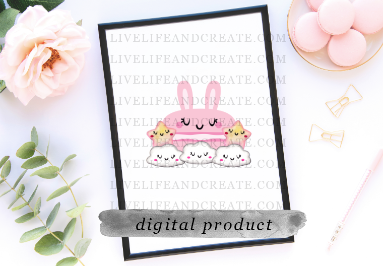 DIGITAL bun bun lashes die cut