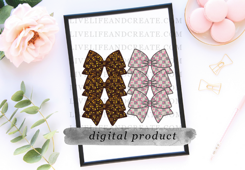 DIGITAL BOTH Bowmarker Grey and Brown Checkered Pink heart overlay 4.5 inches