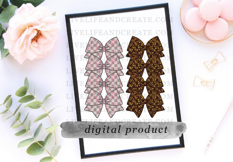 DIGITAL BOTH Bowmarker Grey and Brown Checkered Pink heart overlay 6 inches