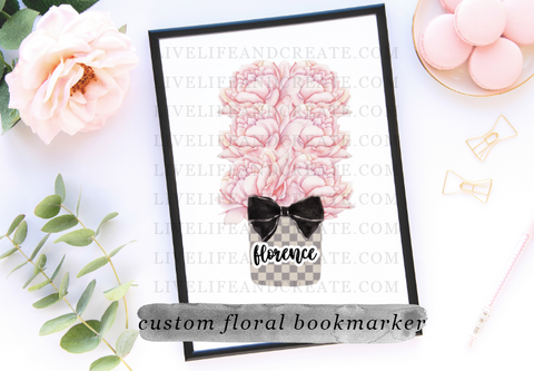 CUSTOM 4 or 6 inch grey check floral bookmarker