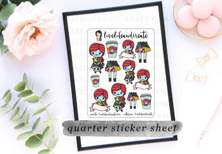 Sally Sticker Sheet Deco with 3 die cut option