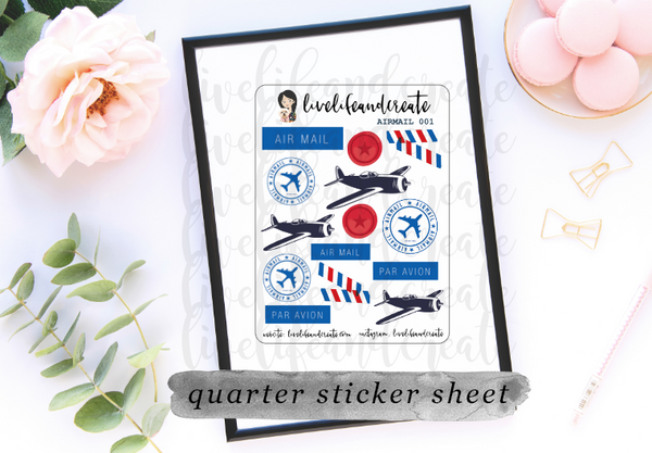 STICKER PACK- 5 airmail/ airplane related sticker sheets!