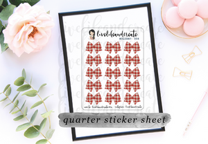Bow- Red and White Sticker Sheet