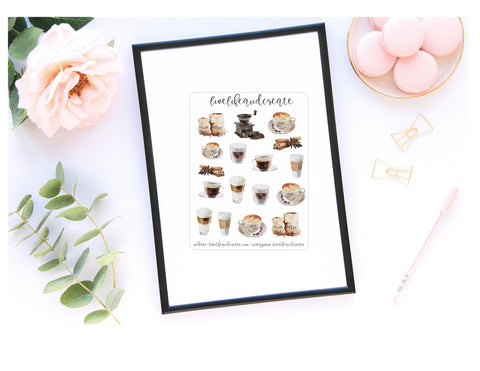 Watercolor coffee deco quarter sticker sheet