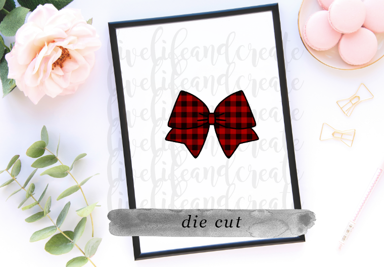 Bow- Buffalo Check Die Cut