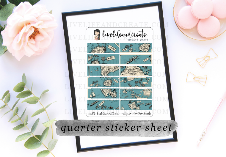Hawaii Map washi stickers