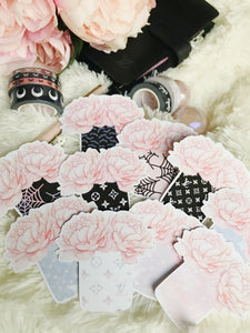 ALL 10 Floral die cuts SET ONLY + initial