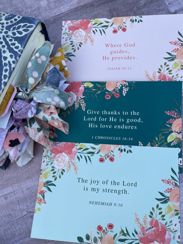 3 prayer cards- Isaiah 58:11, 1 chronicles  16:34, Nehemiah 8:10