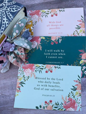 3 prayer cards- Matthew 19:26, 2 Corinthians 5:7, psalm 68:19